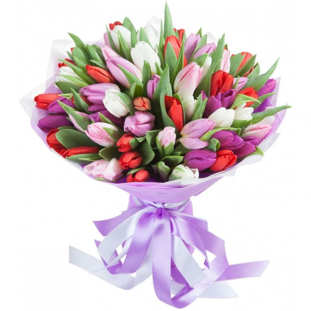 Букет из 51 разноцветного тюльпана